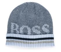 Gestreifte Mütze mit Logo-Motiv