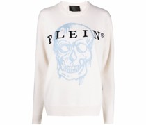 Intarsien-Pullover mit Totenkopf