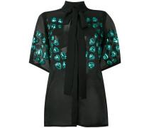 Semi-transparente Bluse mit floraler Stickerei