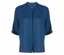 short-sleeved collarless linen shirt