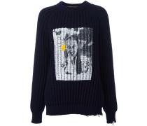 Gerippter Pullover mit Print