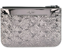 embossed logo clutch
