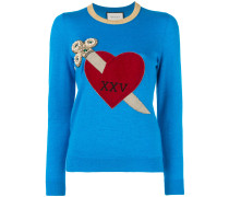 heart and dagger motif sweater