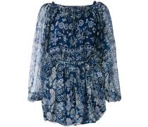 floral print long-line blouse