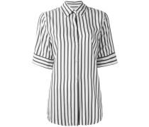 Gestreiftes Seidenhemd mit kurzen Ärmeln