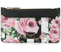rose print striped cardholder