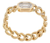 18kt Illusion Gelbgoldring mit Diamanten-Pavé