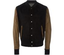 mixed material bomber jacket