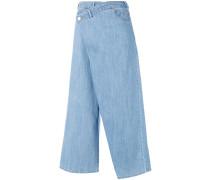 Cropped-Jeans mit Wickeleffekt