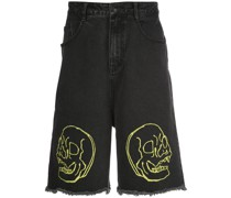 Jeans-Shorts mit Totenkopf-Print