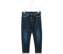 washed five pocket jeans