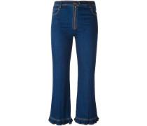 Cropped-Jeans mit gerüschtem Saum