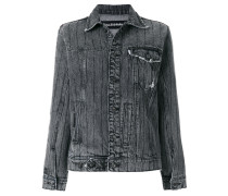 crystal-embellished frayed denim jacket
