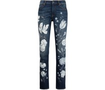 Slim-Fit-Jeans mit floralem Print