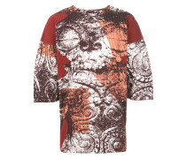 printed pleated T-shirt