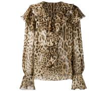 Seidenbluse mit Leoparden-Print