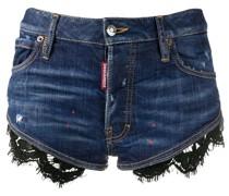 Jeans-Shorts mit Spitzensaum