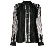 Semi-transparente Bluse mit Streifen
