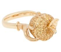 18kt Gelbgoldring mit Diamanten und Saphiren