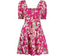 ruched floral-print cotton dress
