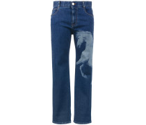 Horse print mid rise boyfriend jeans