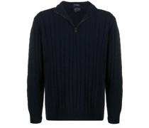 Gerippter Pullover mit Reißverschluss