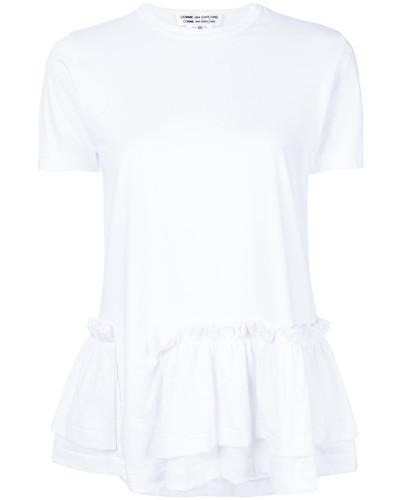 asymmetric ruffle trim T-shirt