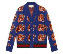 Wollcardigan mit Tiger-Jacquard