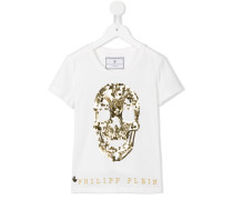 T-Shirt mit aufgesticktem Totenkopf