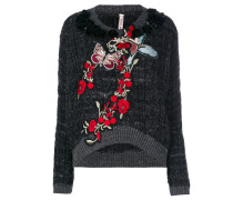 Pullover mit Schmetterlingsstickerei