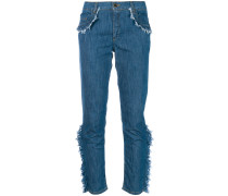frayed ruffle trim jeans