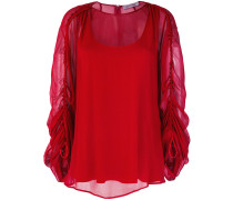 sheer gathered sleeves blouse