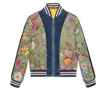 Flora Snake print silk bomber jacket
