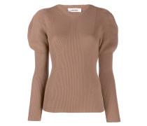 Gerippter Pullover mit V-Ausschnitt