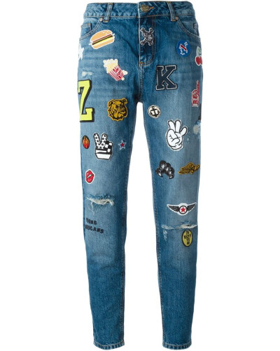 zoe karssen damen jeans mit patches reduziert. Black Bedroom Furniture Sets. Home Design Ideas