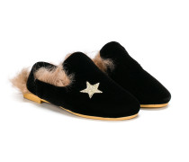 star embroidered slippers