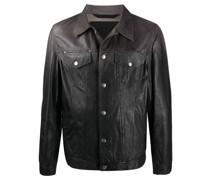 Trucker-Jacke aus behandeltem Leder