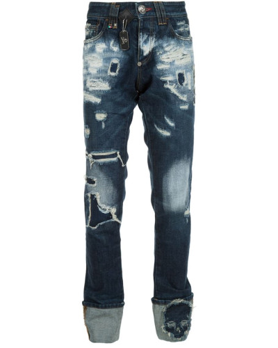 philipp plein herren distressed straight leg jeans reduziert. Black Bedroom Furniture Sets. Home Design Ideas