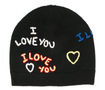 Gerippte 'I Love You' Wollmütze