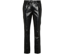 leather mid rise cropped trousers