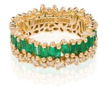 18K yellow gold Princess emerald and diamond ring