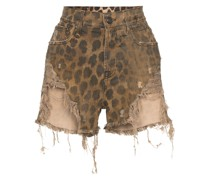 Distressed-Shorts mit Leoparden-Print