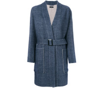 patch pocket belted coat