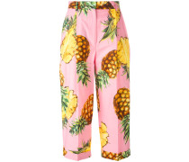 pineapple print cropped trousers - women