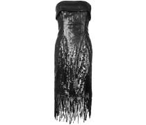 Schulterfreies Seidenkleid mit Pailletten