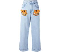 Cropped-Jeans mit Applikationen