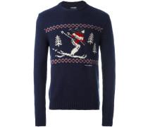 Intarsien-Pullover mit Ski-Motiv
