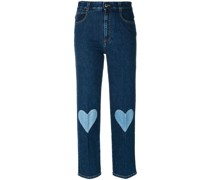 Cropped-Jeans mit Herz-Patches