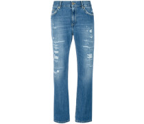 Cropped-Jeans in Distressed-Optik