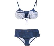 lace applique denim bikini set
